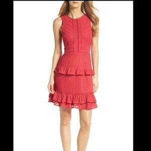 New! Sleeveless Ruffle Knit Sheath Dress